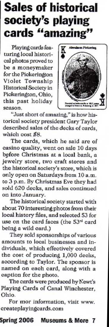 Historical Society Playing Card Article